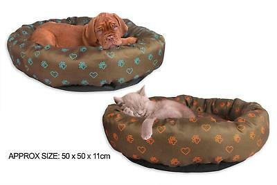 Printed Polyester Round Pet Cat Dog Bed 2 Colours