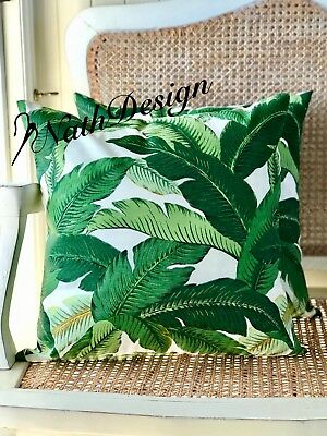 GENUINE Tommy Bahama Indoor/Outdoor  Green-White Banana Palm Leaf Cushion Cover