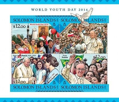 Z08 IMPERFORATED SLM16223a SOLOMON ISLANDS 2016 World Youth Day MNH