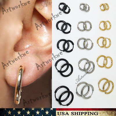 7-16mm Mens Womens Stainless Steel Tube Hoop Ear Ring Stud Earrings Jewelry Punk