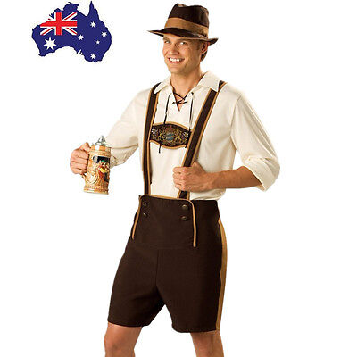AU Stock Mens Bavarian Lederhosen German Oktoberfest  Beer Guy Costume M-3XL