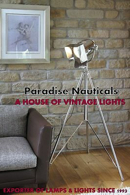 POTTERY BARN Photographer's Tripod Floor Lamp, Chrome Design Nautical Floor Lamp