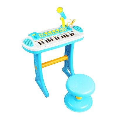 Boys Childrens Electronic 31 Key Keyboard Piano Toy Record With Microphone Stool