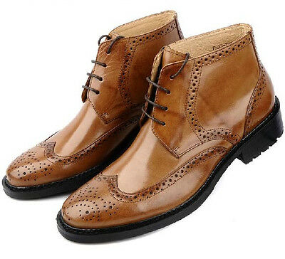 ad490ecbc0 New Men s Shoes Cow Leather Cowboy Ankle Boots Business Casual Brown Size 5 ~9~
