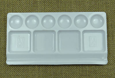 AACEE10 Well Watercolor Rectangular Paint Tray Mixing Palette White
