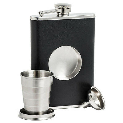 New Stainless Steel HipFlask With Collapsible SHOT GLASS Wraped with Leather