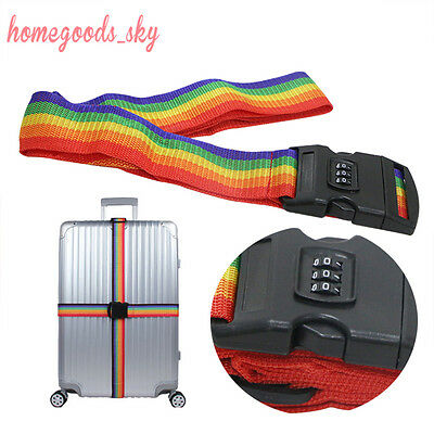 Password Lock Adjustable Safety Baggage Luggage Strong Suitcase Clip Belt Strap