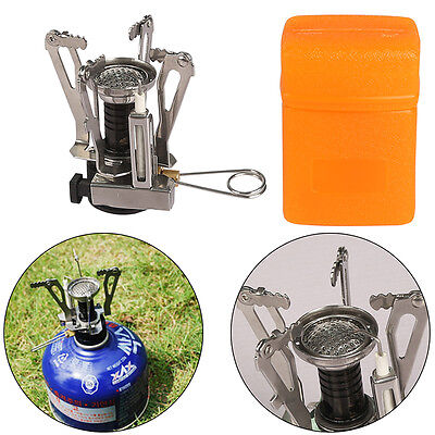 Portable Outdoor Gas Burner Camping Picnic Hiking Mini Foldable Steel Stove Case