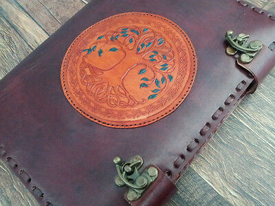 Handmade Leather Journal Wicca Refillable Journal Tree Of Life Sketchbook Diary