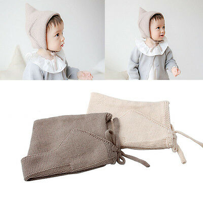 Steeple Witches Knitted Hat Girls Boys Lace-Up Solid Color Newborn Baby Bonnet
