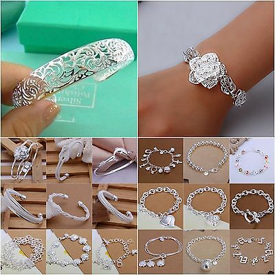 UK HOT Wholesale Fashion Ladies Women Men Jewellery 925Silver Bracelet/Bangle