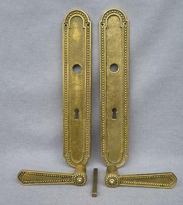 Big antique french door handles set, knob early 1900's bronze mansion castle