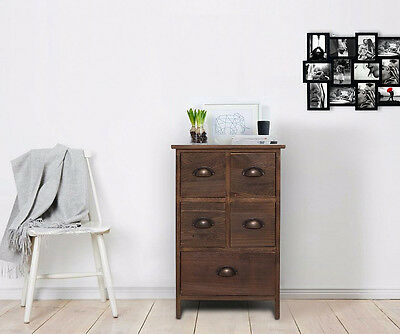Wooden Small Cupboard Vintage Storage Unit Brown Chest 5 Drawers Bedside Table