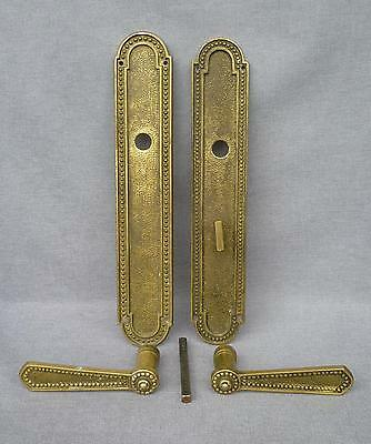Big antique french door handles set with lock early 1900's bronze mansion castle