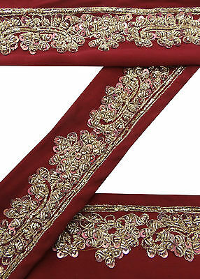 Vintage Indian Sari Border Used Hand Beaded Trim Sewing Red Ribbon Lace 1YD