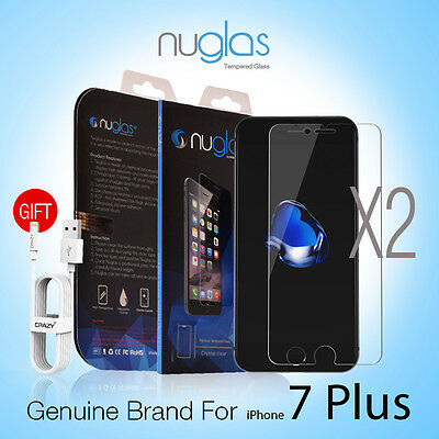 2X Genuine NUGLAS Tempered Glass Screen Protector for Apple iPhone 7 Plus 5.5