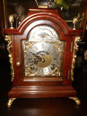 Vintage MANTLE BRACKET SHELF CLOCK MOONPHASE WUBA moondial WARMINK wood striking