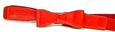 "#350 Bright Red 1"" Wide Girls Stretch Material & Patent Leather Bow Belt"