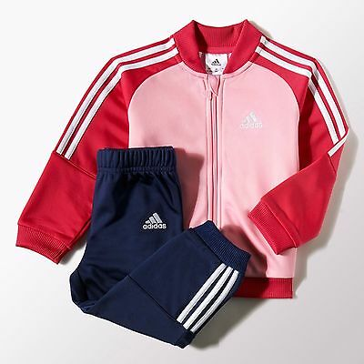 Adidas girls infant 3 stripe pink polyester tracksuit. Jogging suit. Sizes 3-48M