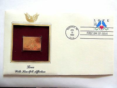 """January 18th, 1990 With Heartfelt Affection """"Love"""" 1st Day Gold Stamp Issue"""
