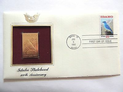 "January 6th, 1990 100th Anniversary ""Idaho Statehood"" 1st Day Gold Stamp Issue"