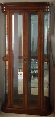 Great Vintage Solid Wood & Glass Curio - Cherry Wood Finish - GORGEOUS - GDC
