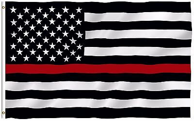 Thin Red Line Firefighter US American Flag 3'x5' Polyester Fireman Honoring New