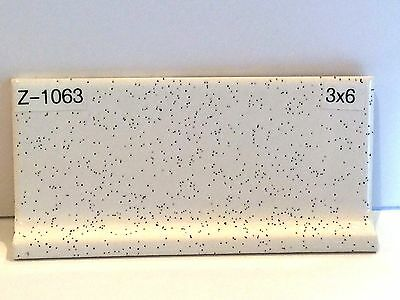 """z-1063) 1pc Vintage Ceramic Tile 3x6"""" White Blue Speckle Glossy Mid-state Cove"""