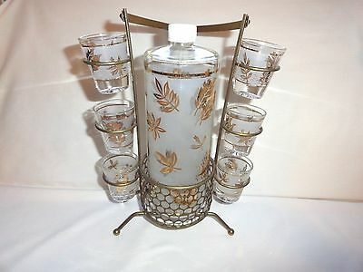 Vintage Cocktail Set Marked Starlyte~Decanter, Six Shot Glasses, Metal Carrier