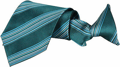 New Mens Clip On Tie Striped Necktie Classic Wedding Office Business Plain Green