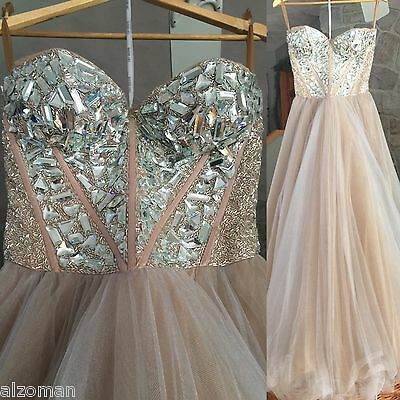 Sherri Hill Gown Tan Beige sixe 8 zip up back with all original embellishments