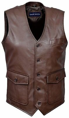 Men's Party 8834 BROWN Fashion Classic Real Lambskin Napa Soft Leather Waistcoat