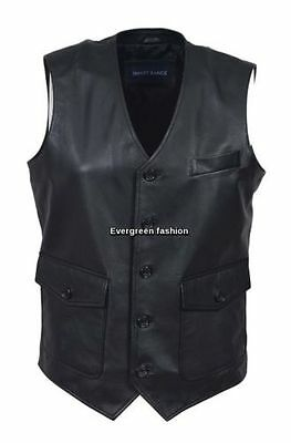 Men's Classic BLACK designer good looking Real NAPA Soft Leather party Waistcoat