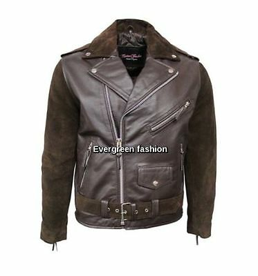 Men's BRANDO BROWN Suede And Leather Retro Fitted Cow Hide Leather Biker Jacket