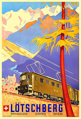 Art Deco Swiss Railway Travel Poster 1940s Lötschberg Switzerland Print Retro