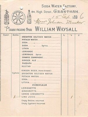 Lincolnshire - GRANTHAM, William Whysall, Soda Water Factory,  Invoice 1896