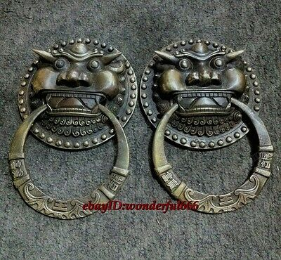 antique excellent china old bronze carved A Pair foo dog lion door knocker