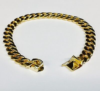"18k Solid Yellow gold Miami Cuban Curb Link mens bracelet 7"" 35 grams 8MM"