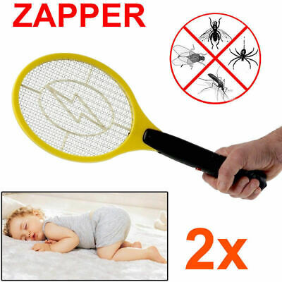 2x Electric Fly Swatter Mosquito Bug Insect Kill Zapper Racket AU Ship