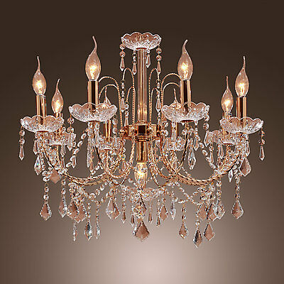 Antique Elegant Chandelier Fixture Ceiling 9 Light Crystal Flush Mount Lamp CA