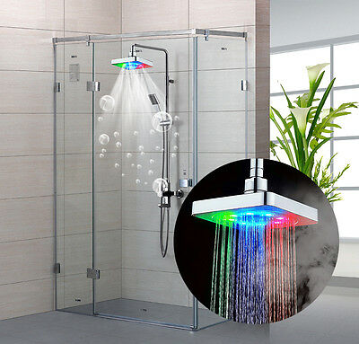rain shower head water pressure. 6 inch Square Rainfall Shower Over head water pressure affect 7Colors LED  light 8 INCH SQUARE 7 Colors Changing Bathroom