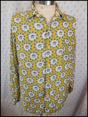 Genuine Vintage 80s 90s Australian Made Floral Patterned Silky Rayon Shirt M