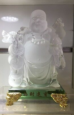 Clear Buddha On Clear Crystal Base Feng Shui Good Luck Money (11x11x19cm H)