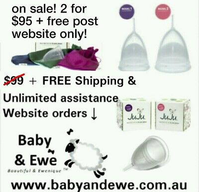 2x JuJu Menstrual Cups - 1x MODEL ONE + 1x MODEL TWO & choice of pouch colours!