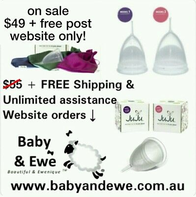 JuJu Menstrual Cup MODEL TWO (2 post birth) & DARK BLUE Pouch. Unlimited support