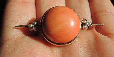 Fine 12Kt Yellow Gold Coral & Seed Pearls Brooch Pin