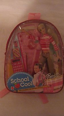 Barbie Doll School Cool Back Pack With School Supplies From Mattel 2003 NEW t229