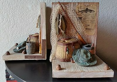 Fishing Bookends Fish Basket Lures Reels Fly Rods Net Heavy Metal Solid Wooden