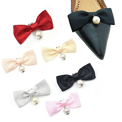 1 Pc Pearls Bowknot Bow Shoe Clips Buckle Removable High Heel Elegant Women New