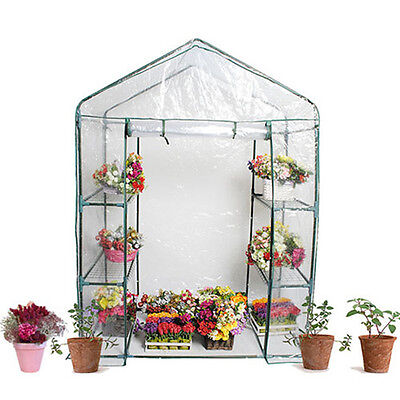Walk In Greenhouse PVC Plastic Garden Grow Green House with 6 Shelves Growhouse